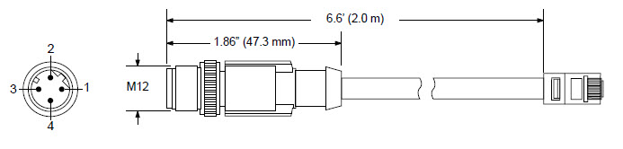 MD-CS640-000 4-pin M12 D-coded (Male) to RJ45