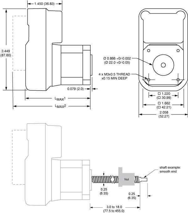 Lexium MDrive Linear Actuator NEMA 17 dimensions